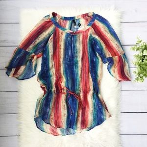 NWT Uluwata Chemise Colorful Stripe Sheer Tunic 14